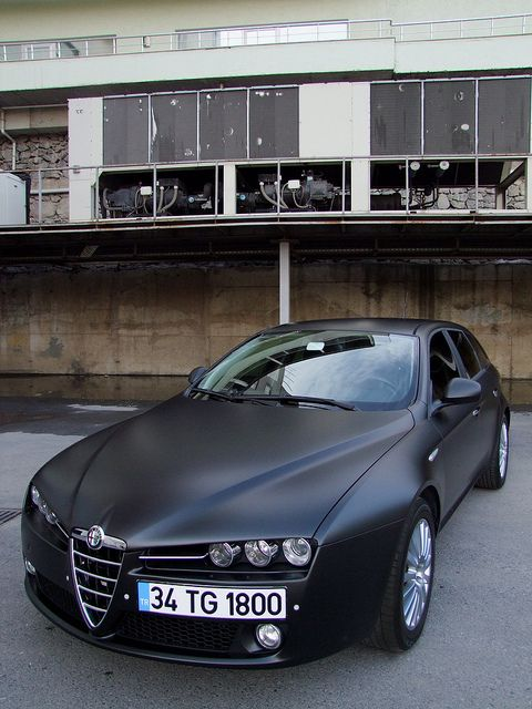 matte black alfa romeo 159 by DreamersVision, via Flickr