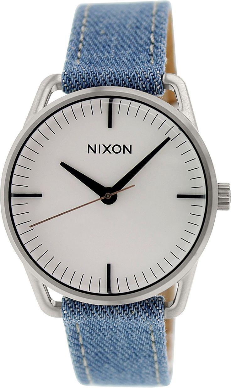 Amazon.com: Никсон женщины «Меллора» Кварц из нержавеющей стали и кожаные вскользь Часы, Цвет: синий (Модель: A129-1601-00): Никсон: Одежда