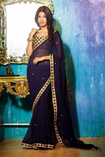 Trendy blue color georgette saree