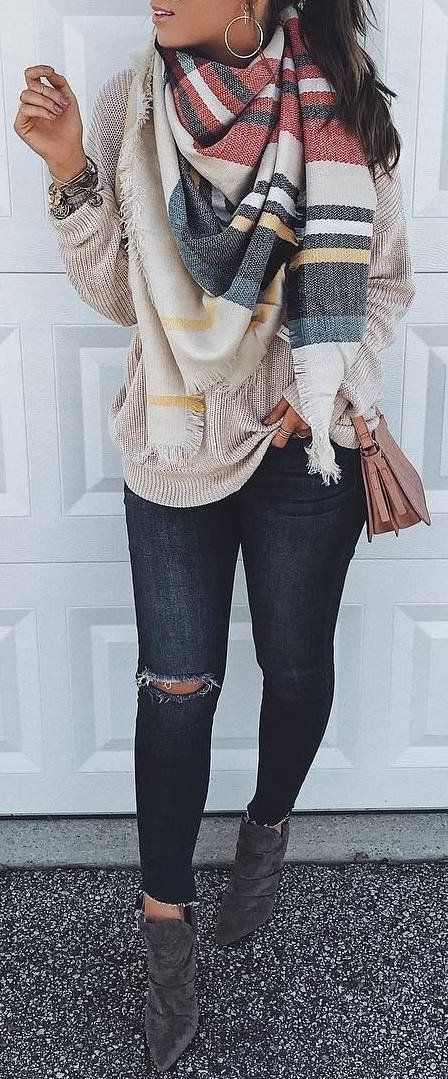 #Winter #Outfits / Pattern Print Scarf + Beige Sweater