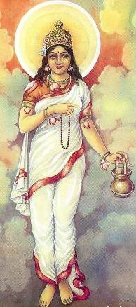 Mata Brahmacharini – Second Avatara of Durga :    Mata Brahmacharini is worshipped on second day of Navarathri. Brahmacharini is the goddess who performed 'Tapa' (penance) (Brahma – Tapa , Charini - Performer ). Mata personifies love and loyalty. She holds japa mala in her right hand and Kamandal in left hand. She is also called as 'Uma' and 'Tapacharini' and provides knowledge and wisdom to her devotees.