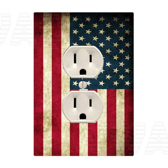 American Flag Wall Plug Decal Outlet Cover Skin Sticker by VWAQ