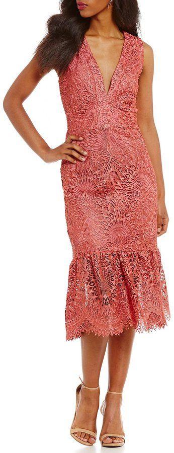 Nicole Miller Artelier Evalina Lace Peplum Midi Dress