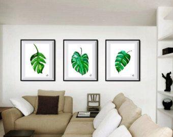 Set di 3 stampe acquerello arredamento pianta tropicale natura illustrazione muro arte monstera Spalato stampa foglia arte botanica di foglie di Monstera