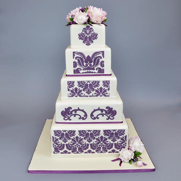 132 best cakes images on pinterest cake wedding fondant cakes damask sugar sheets damask cake five tier stencil set by designer stencils sciox Images