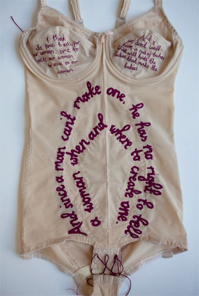 "Zoe Buckman ~ ""and since a man"" (2014)  from her ongoing project, Every Curve, combines vintage lingerie, hand embroidery, and the iconic lyrics of The Notorious B.I.G. and 2Pac."