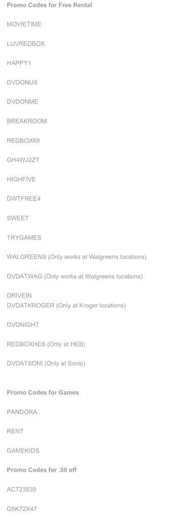 Twitter / omglifehacks: Here are all the Redbox codes ...