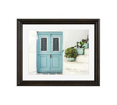 "Three Blue Pots Framed Print by Lupen Grainne, 20x16"", Ridged Distressed Frame, Black, Mat"