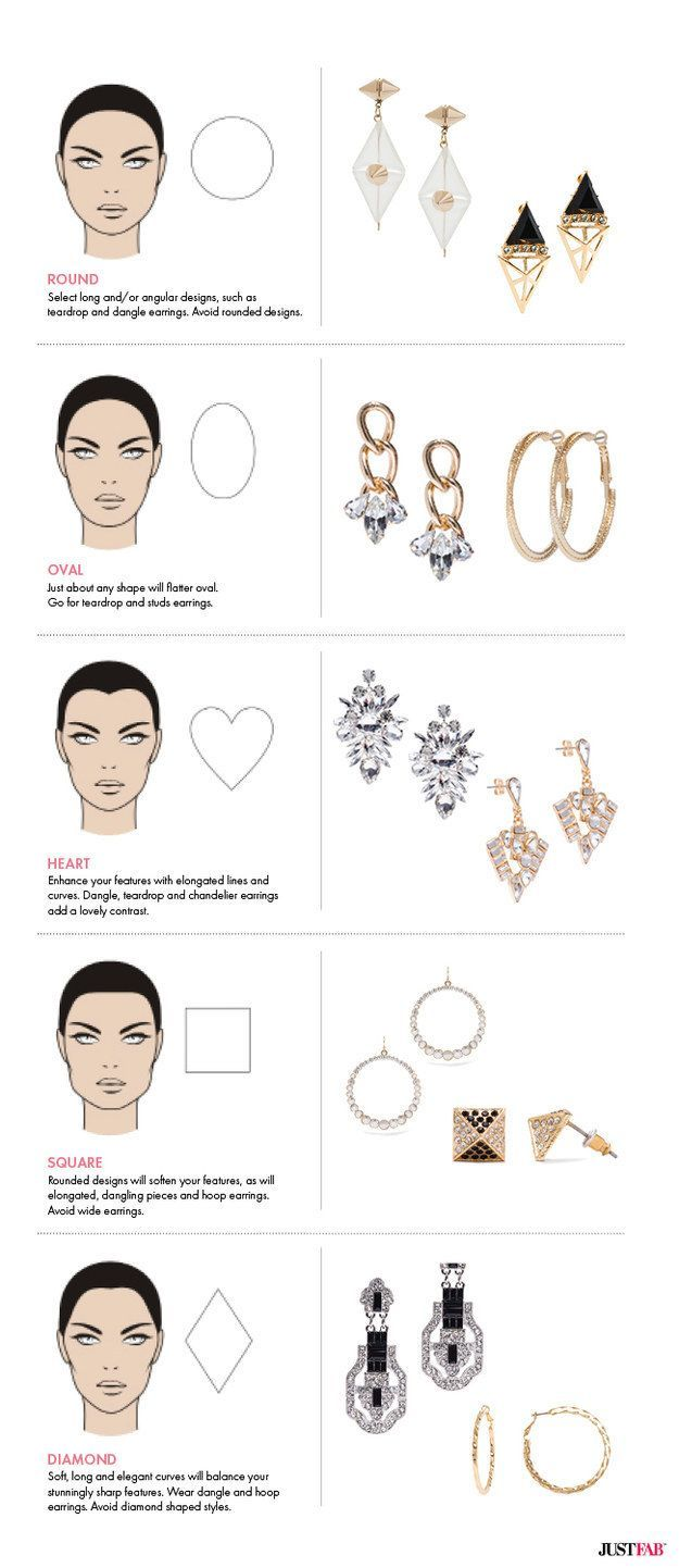 Choose earrings that work best with your face shape. | 37 Super Helpful Style Charts That'll Help You Look Fly AF