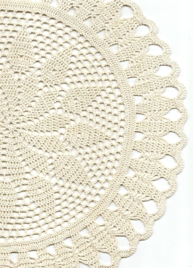 Crochet doilies, lace doily, table decoration, crocheted place mat napkin, cream