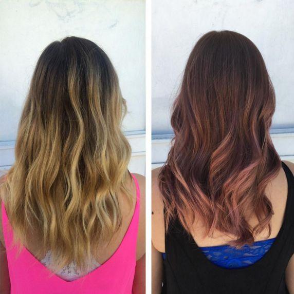"""También lo puedes tener de un tono oscuro, siguiendo la técnica balayage.   15 Pruebas de que el cabello """"rosa dorado"""" es el cambio que necesitas en tu vida"""