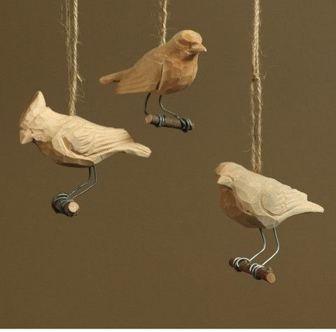 HomArt Carved Wood Bird Ornaments