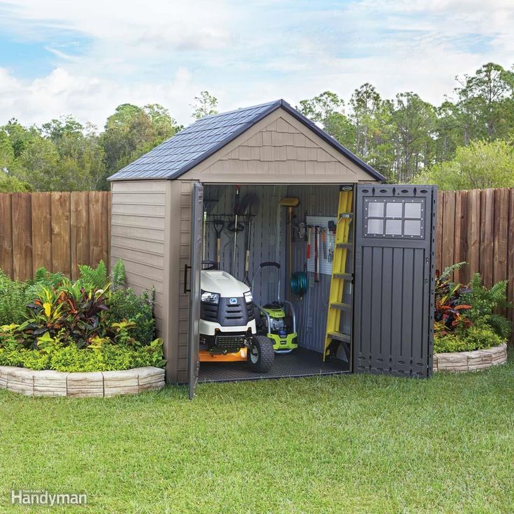 High-density polyethylene plastic (HDPE) is tough, lightweight and weather resistant. It won't rot and never needs paint. If those qualities sound good to you and you need a fast storage solution, consider an HDPE shed. The 7x7 Rubbermaid Big Max storage shed shown here is big enough to store yard and garden tools, a pressure washer and a snow blower. And the sturdy floor can easily handle the weight of a riding lawn mower. In just a few hours, and with the help of a buddy (who probably…