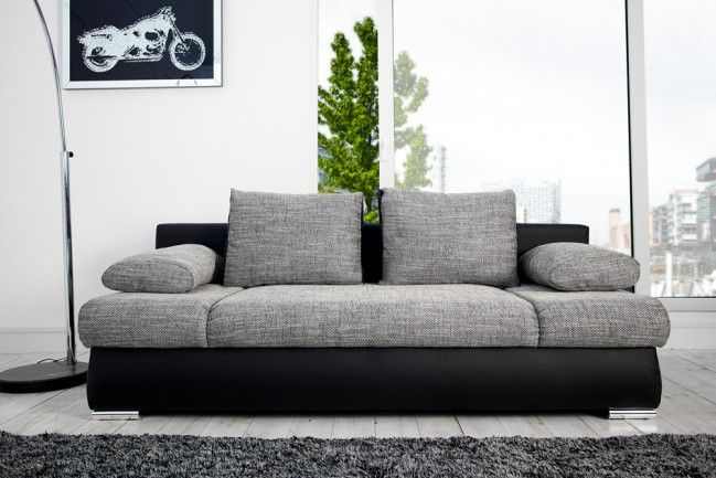 Stylisches Design Schlafsofa ORLANDO grau-schwarz Strukturstoff Federkern mit Bettkasten  --   Riess-Ambiente.de