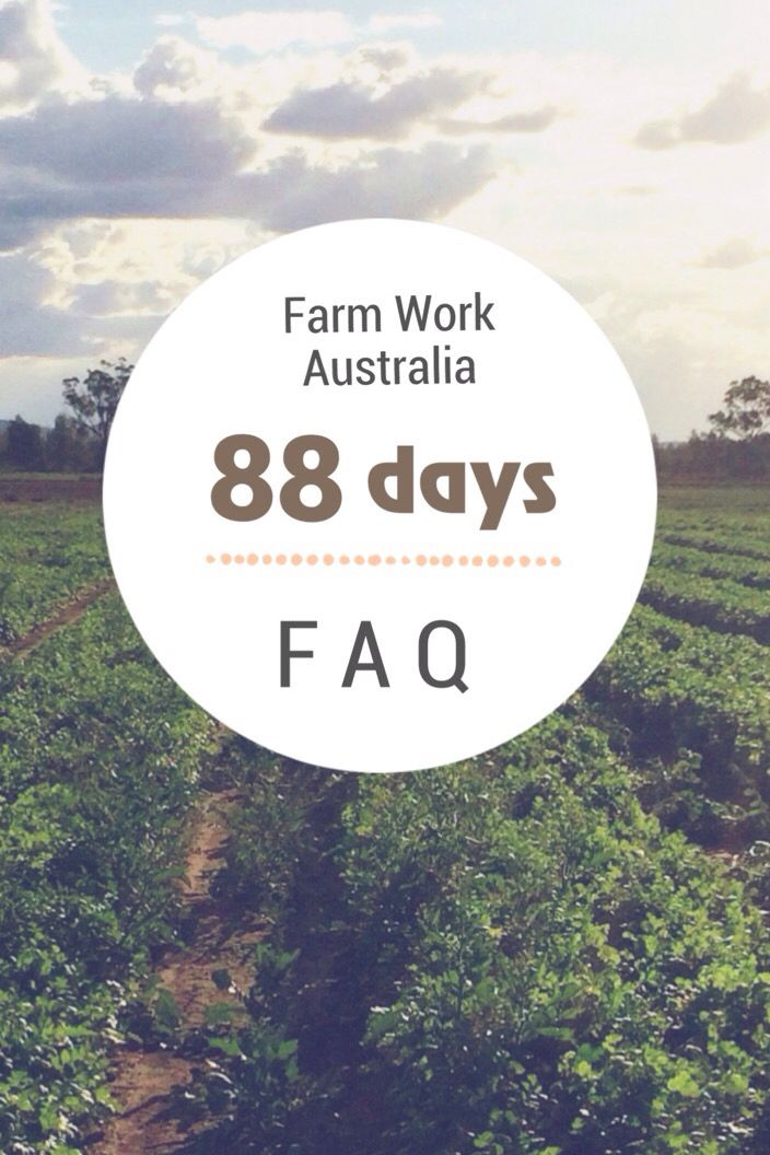 Frequently Asked Questions about work for the 88 days / second year working holiday visa in Australia.