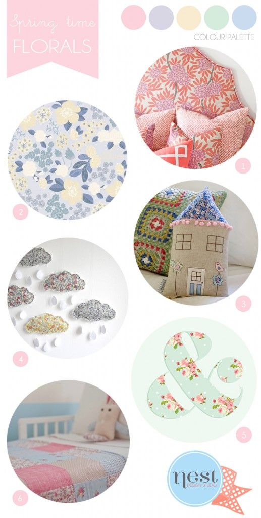 SHOP GUIDE: FLORAL INSPIRED DECOR floral inspired #kidsroom accessories #nursery #interiors #inspirationboard #shopguide