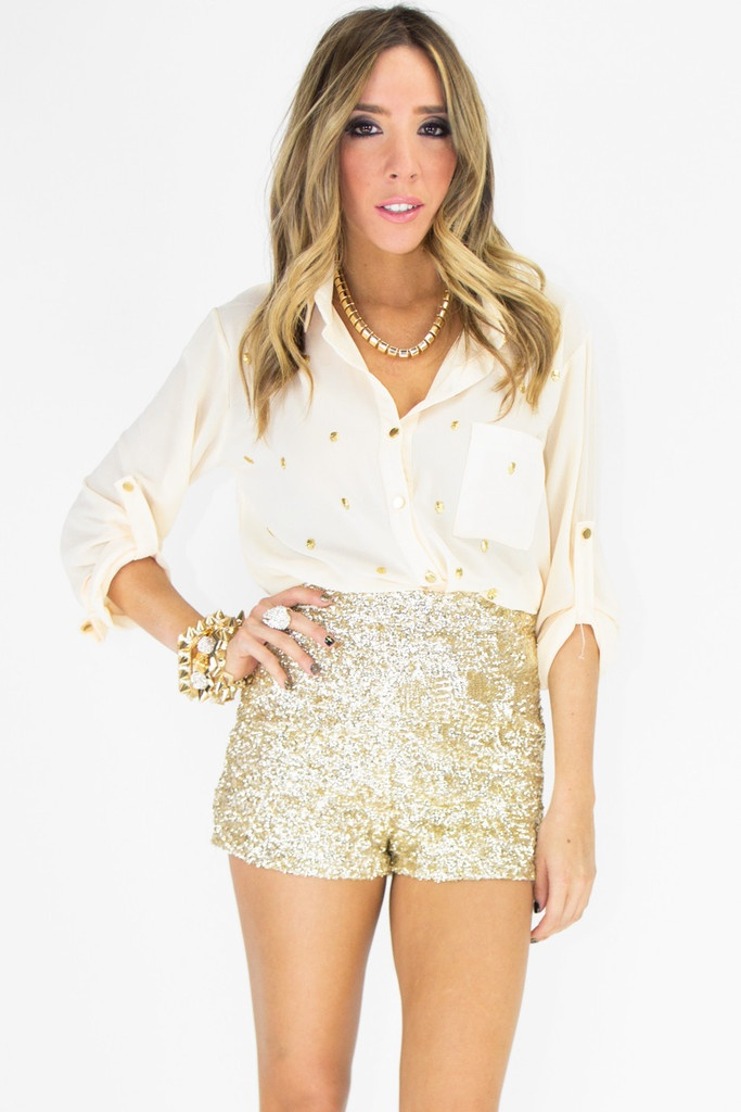 HIGH-WAISTED GOLD SEQUIN SHORTS | Get In My Closet ...