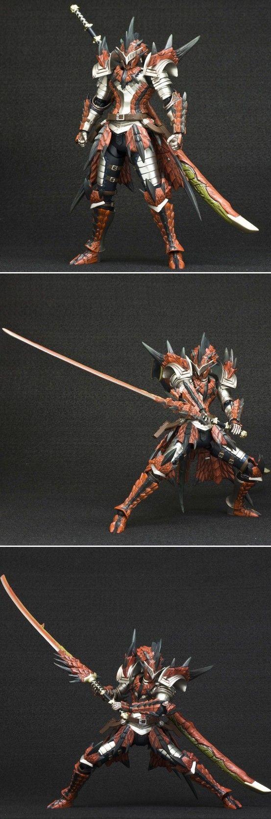 "Hunter Swordsman Laeus Series [Monster Hunter 4] Full Ratholos armor and wyvern blade ""fire"" impressive"