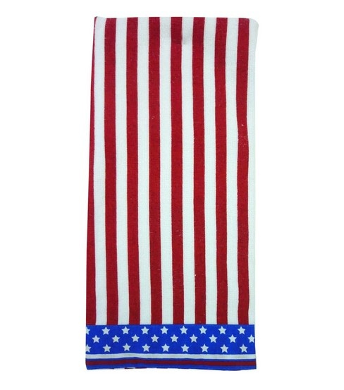 Red White And Blue Striped USA Bathroom Hand Towel. #patriotic #America  $3.99