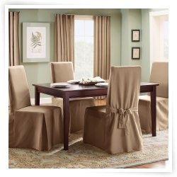 Sure Fit Cotton Duck Long Dining Room Chair Cover