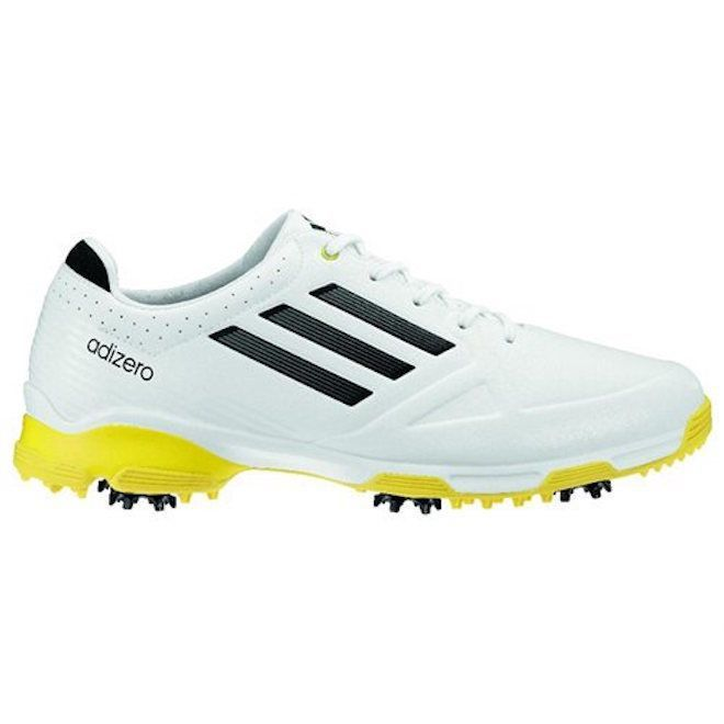 adidas Mens adizero Golf Shoe - White/Black/Yellow at Golf Galaxy