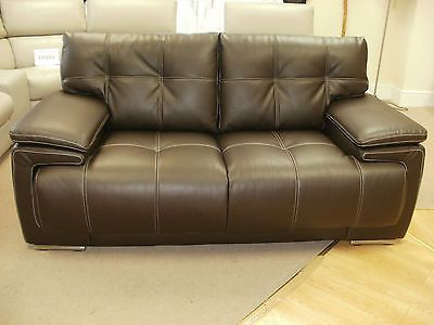 BROWN ENDURANCE LEATHER 2 STR SOFA (40) £399 in Suites | eBay