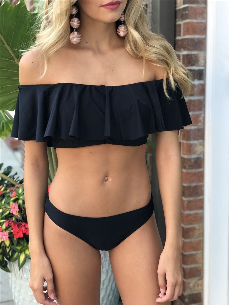 Ruffle off the shoulder bikini #swoonboutique