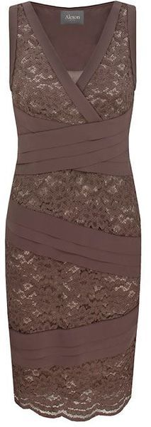 Alexon Light Brown Lace Shutter Dress in Purple (taupe) - Lyst