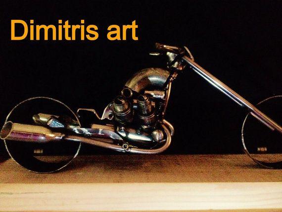 Metal chopper sculpture/100% handmade/recycled by AtelierIslandArt