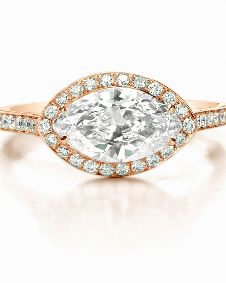 Marquise-Cut Diamond Engagement Rings | Martha Stewart Weddings - Forevermark by Jade Trau Marquise Halo Ring set in 14K Yellow Gold, price upon request, Forevermark.com.