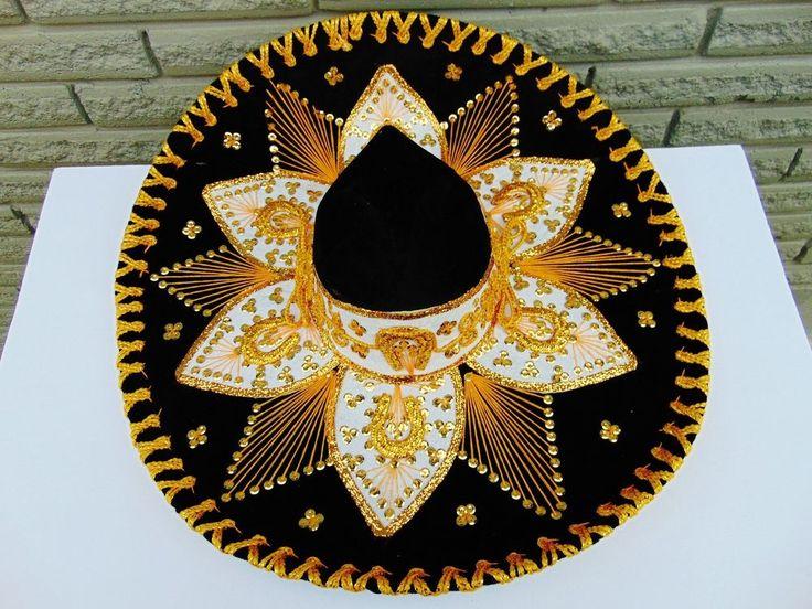 Mexican Hat Adult Sombrero Mariachi Charro Cinco de Mayo Fiesta Costume Blk/Gold #Belri #MexicanMariachiHat