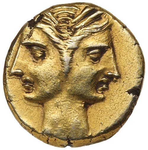 The Hannibal Collection of Carthaginian Coins / ZEUGITANIA, Carthage, Coinage of Hannibal, (c.216-211 B.C.), electrum three eights shekel or gold three quarter Phoenician drachm...$6,500.00 AUD......Click VISIT to see 10,000+ Gold Coins at MAD On Collections. Please feel free to pin or share this coin.