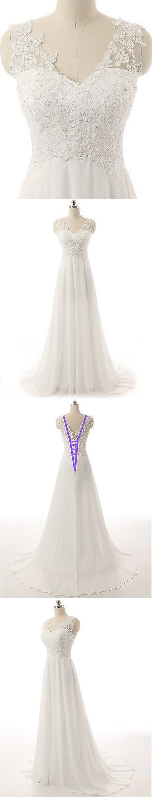 Wedding Dresses: Simple White Ivory Chiffon Lace Wedding Dress Bridal Gown Size 6 8 10 12 14 16+ -> BUY IT NOW ONLY: $41.3 on eBay!