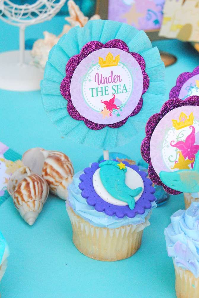 Cupcakes at a mermaid birthday party! See more party ideas at CatchMyParty.com!