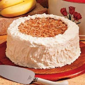 Banana Coconut Cake- I just made this and it is one of the best banana cakes I've ever had! The coconut goes amazingly well with the banana flavors without being overpowering! Even my dad, who claims to hate coconut, loved this cake! :)
