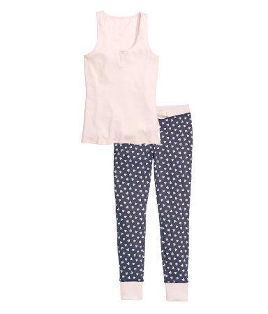Pyjama mit Top und Hose   Hellrosa   Ladies   H&M DE