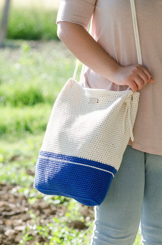 Crochet bag #MyLovelyBag Athens blue and cream with rope handles by MyLovelyHook