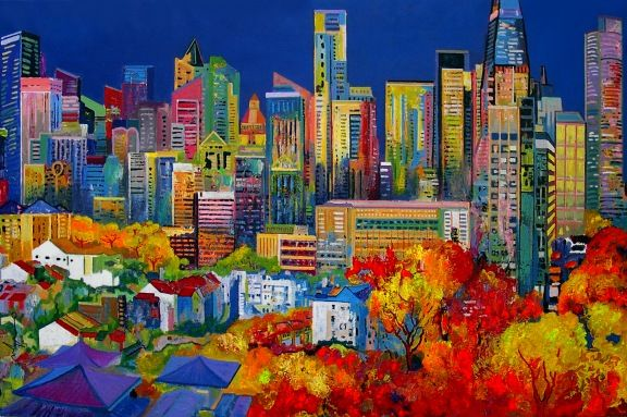 Chinatown by Ulpiano Carrasco Mixed on Canvas 97 x 146 cm AVAILABLE