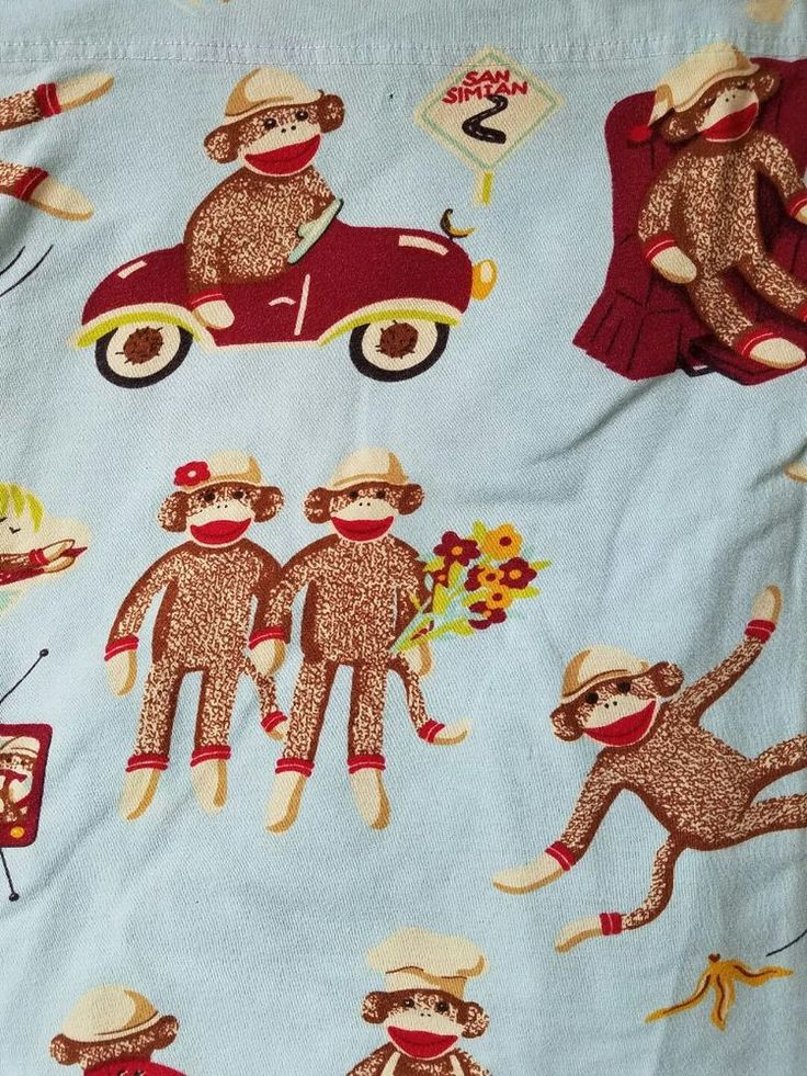 Nick and Nora Monkeys Blue Twin Jersey Flat Sheet All Cotton #NickandNora #Contemporary
