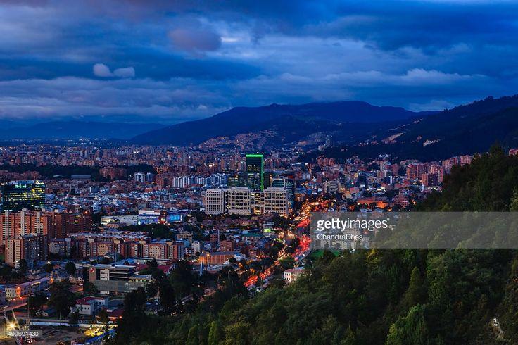 Stock Photo : Bogota, Colombia: Barrio de Usaquen, after sunset, from La Calera