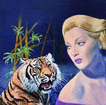 Original Painting on Canvas surreal Lana Turner tiger