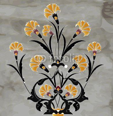 Traditional antique ottoman turkish tile illustration design