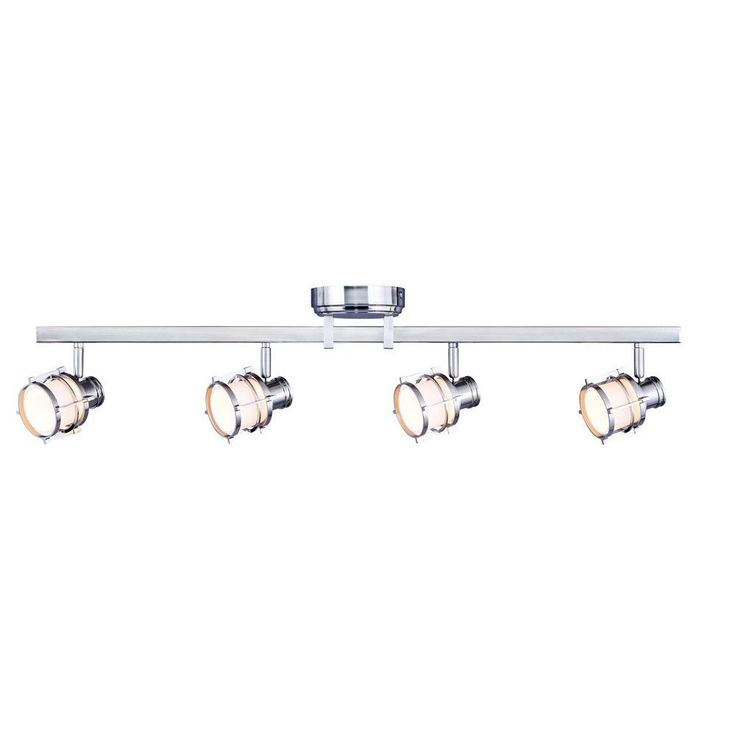 hampton bay 3ft 4light pewter integrated led directional track lighting fixture