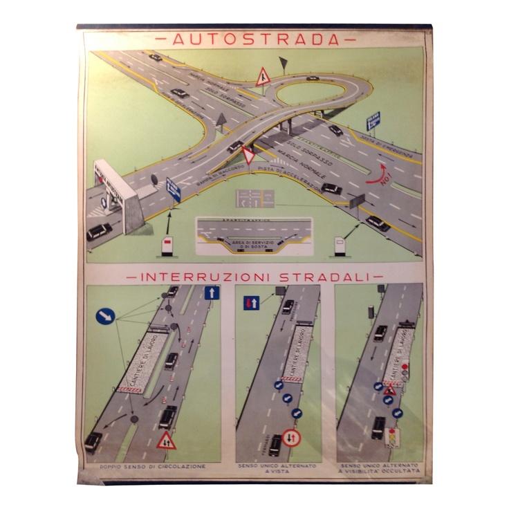 Vintage Italian Driving School Poster - Autostrada | VandM.com