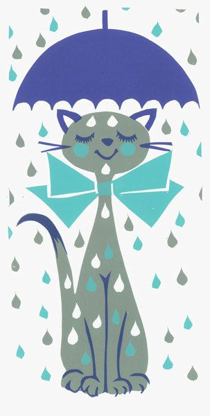 Umbrella Kitty Screen Print by Print Mafia by printmafiadesigns
