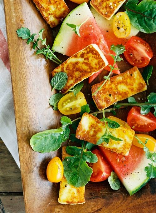 Halloumi Watermelon Salad Photo by Stephen Devries, Food Styling by Ana Kelly