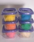 Kool-Aid Play dough    2 1/2 cups flour  1 cup salt  3 tablespoons vegetable oil  2 cups boiling water  2 packages unsweetened Kool-Aid    Mix dry ingredients. Add oil and water. Wearing gloves, knead for 10 minutes. Store in zip lock bag in refrigerator.