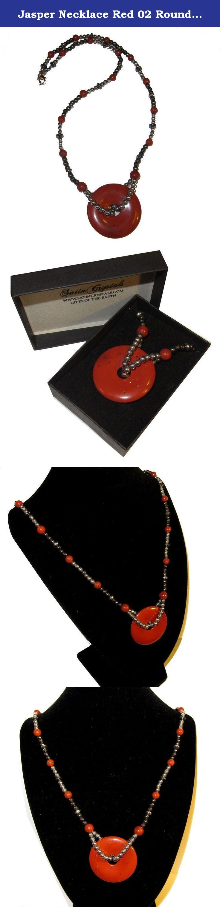 """Jasper Necklace Red 02 Round Medallion Crystal Hematite Healing Stone Root Chakra 21"""" (Gift Box). Crystal Jewelry This beautiful crystal necklace contains a large eye-catching red jasper pendant stone strung with hematite and decorative beads. The round pendant is a glossy red with black patterns. The cord contains jasper stones, lines of hematite, and lines of silver toned metal beads that come to a lobster claw clasp. Receive the exact elite necklace featured when you order from Satin..."""
