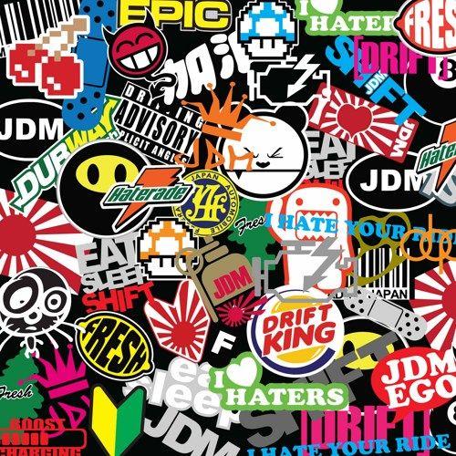 Jdm lip spoiler sticker bomb vinyl wrap sheet inch decal black