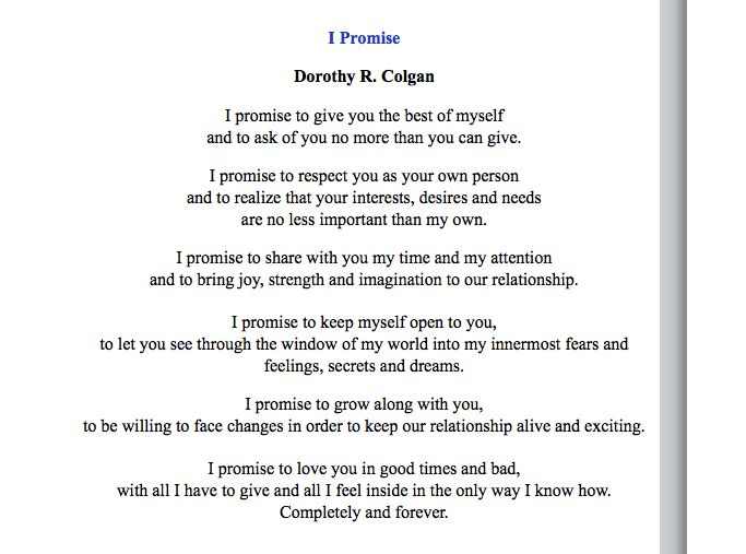 Vow Poem Similar To What I Think You Have